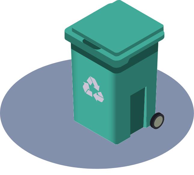 electronics recycling bin on wheels