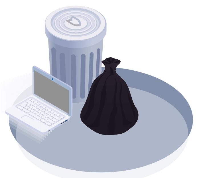 broken laptop sitting on ground next to metal trash can and black garbage bag