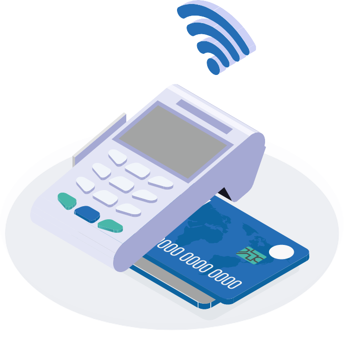 Credit card machine with chip enabled credit card inserted emitting a wireless signal to manage expenses